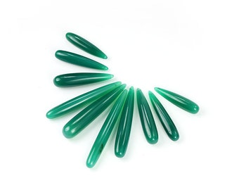 Green Onyx Smooth Long Drop Briolettes 1 Green Semi Precious Gemstone