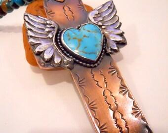 Handmade Cross, OOAK, Mixed Metalwork, Cross Pendant, Kingman Turquoise Heart Cross, Hand Stamped Copper, Fine Silver Angel Wings, Cross