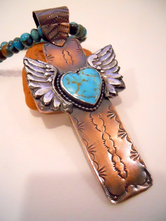 Handmade Cross, OOAK, Mixed Metalwork, Cross Pendant, Kingman Turquoise Heart Cross, Hand Stamped Copper, Fine Silver Angel Wings, Cross