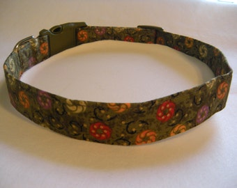 Handmade Cotton Dog Collar -  Olive Green with Flowers and shimmery Gold Dots