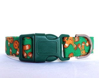 Handmade Cotton Dog Collar - Gingerbread Men
