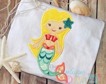 Summer Girly Mermaid Digital Embroidery Design Machine Applique