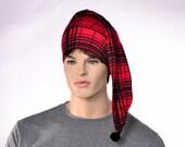 Cotton Nightcap Glasgow Plaid Red and Black Adult Men Women Night Cap Lightweight Hat to Sleep in Buffalo Plaid HatPoor Poet Hat Pompom