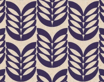 Leaf - Royal Blue Navy Leaf CANVAS Fabric from Kokka
