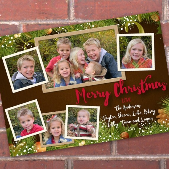 Christmas cards, evergreen Christmas card with 6 photos, evergreen Merry Christmas, Christmas photo card, new years greetings, CC090v1