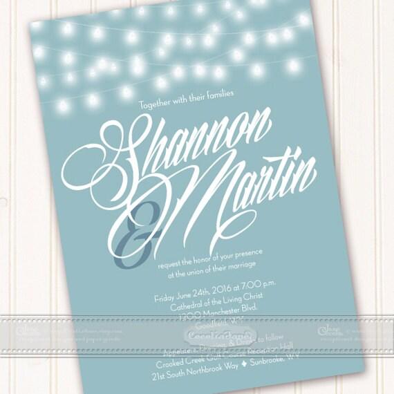 wedding invitations, aqua wedding invitations, wedding invitation with string lights, aqua and white wedding invitation, bridal shower IN459