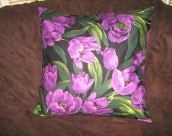 "PURPLE FRENCH TULIPS  Pillow Cover 18"" size Michael Miller Fabric"
