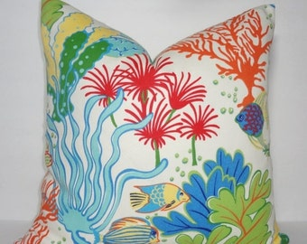 HARVEST SALE OUTDOOR Ocean Fish Coral Blue Pillow Outdoor Pillow Cushion Covers Porch Pillow Pool Pillow