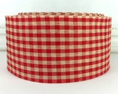 "Wired Ribbon,  2 1/2"" Red Beige Teadye Check - THREE YARDS -  ""Tea Dye Red"" Gingham Prim, Christmas Craft Wire Edged Ribbon"