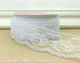 "Lace Ribbon,  1 3/8"" wide, White - THREE YARD ROLL -  ""Natalia"" Sewing Trim, Embellishment, Lace Trim, Lace Edging"