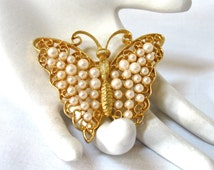 Large Pearl Butterfly Brooch, signed M.J. Ent, filigree, Excellent