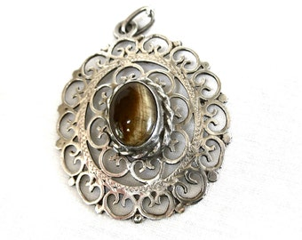 Sterling Silver Filigree Pendant Necklace, signed Mexico, Tiger's Eye, Large, 925 Cutwork, Excellent