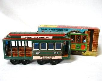 1950's Toy Tin Cable Car, San Francisco, streetcar, trolley, original box, friction wheels, bell, original box, Japan, Gift Idea, Excellent