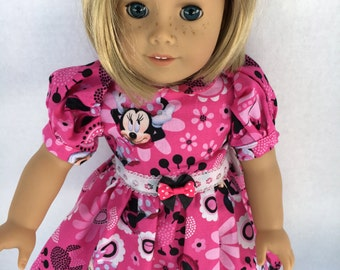 18 inch doll capped sleeve pink Minnie Dress, made to fit American Girl Dolls and similar 18 inch dolls
