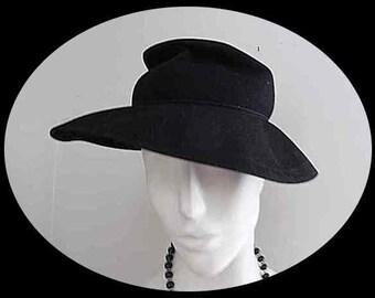 Vintage Black Wool Felt Brim Hat Merrimac Ritz USA Slouchy Crown – Sz 22