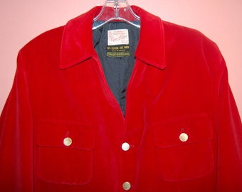 Mens Mod England Red Velvet Velour Stage Wear Jacket Capper & Capper Made In England 60s 70s Disco Original Mod Rock n Roll Era Coat Size L