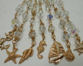 Nautical Decor, Wire Wrapped Crystal Bead Hangers, Summer Beach Cottage Decor, Gold Plated Decor, Chandelier Nautical Bead Hangers, BEACH