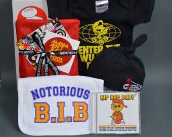 Wu Tang Clan Pun Baby Onesie, Notorious B.I.G. bib, NWA Logo Beanie Hat, Hip Hop lullaby Music CD - Fun New Baby Gift Set