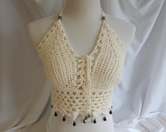 Crochet Halter Top - Sexy Lace Up Boho Festival Top With Glass Beads - Cream Beige