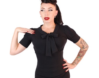 Puff Sleeve Bow Top Black