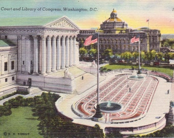 Washington D.C., Library of Congress, Supreme Court - Linen Postcard - Unused (OO)