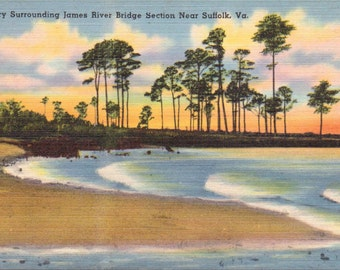 Suffolk, Virginia, James River Bridge Section - Linen Postcard - Unused (M)
