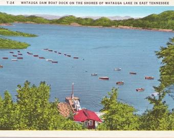Watauga Lake, Tennessee, Boat Dock - Vintage Postcard - Postcard - Unused (K1)