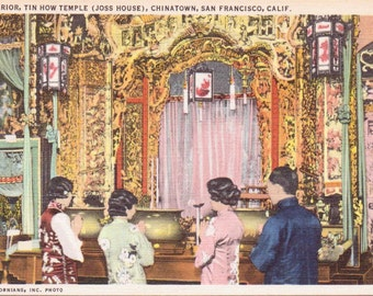 Tin How Temple, Chinatown, San Francisco, California - Linen Postcard - Unused (M1)