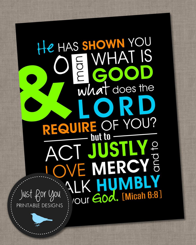 Design a 16x20 poster - Kids Bedroom Decor Micah 6 8 16x20 You Print Scripture Verse Bible Verse Inspirational Poster Children Teen Youth