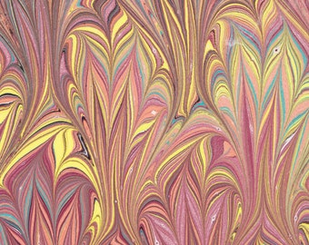 Marbled Paper, handmade 19x25in (48x64cm), autumn colours Thistle pattern