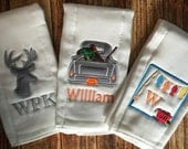Set of 3 Personalized Burp Cloths - Diaper Cloths - Baby Boy - Duck Hunting -Monogrammed - Hunting - Fishing