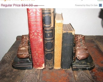 Valentine SALE Bronzed and Copper Baby Shoe Bookends Art Deco Lace Ups