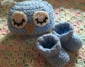 Sweet Little Boy Blue Infant Newborn Baby Crochet Set Knit Booties and Hat Owl Sleepy Sleeping Sweetie