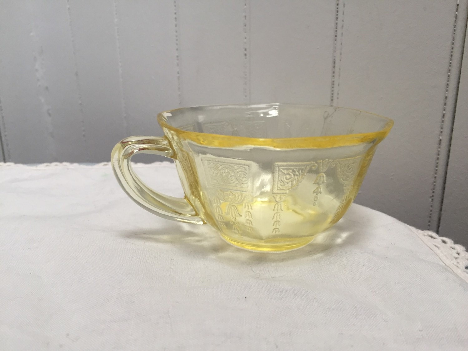 Vintage Yellow Depression Glass Teacup