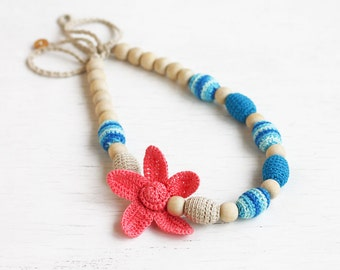 Baby shower gift for mom Nursing necklace Flower jewelry Blue and coral chunky necklace Sea inspired