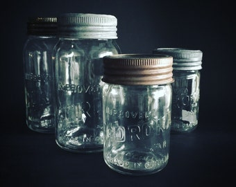 Set of Four Vintage Corona Mason Jars - Made In Canada