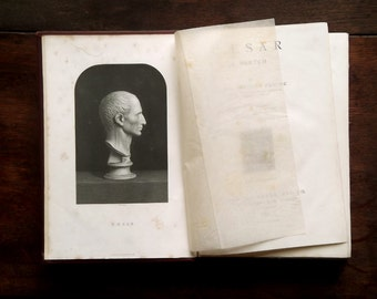 Antique history book, biography of Julius Caesar by James Anthony Froude, antique book.