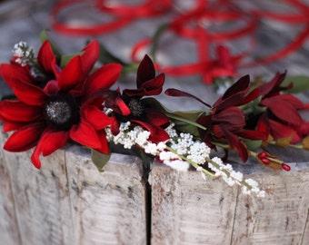 Red Tie Back Floral Crown, Floral Wreath
