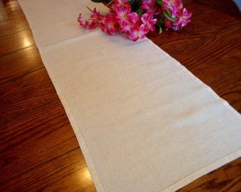 """Linen Table Runner Ivory Dresser Scarf Vintage Table Topper 13"""" x 48"""""""