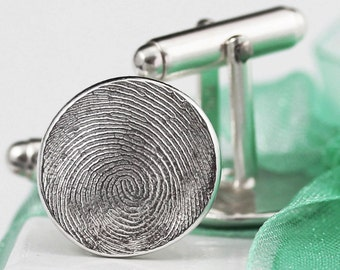 Father's Day Gift Fingerprint Cufflinks Cuff Links Custom made keepsake of pure .999 Fine Silver with Sterling Silver Gift for Dad Groom Him