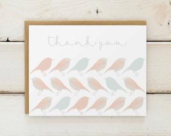 Bird Thank You Cards, Bird Stationery, Bird Thank You Notes, Baby Shower Thank You Cards, Bridal Shower Thank Yous, Bird Cards, Set of 10