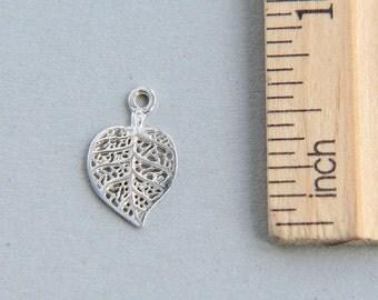 Leaf Charm, Filigree Leaf Charm, 925 Sterling Silver Charm, Sterling Silver Leaf Charm, Leaf Pendant, Sterling Silver Leaf, 16mm ( 1 piece )