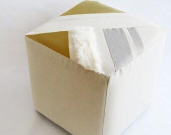 Cube/Ottoman/Modern Pouf/Custom Ottoman/Ivory/Mustard/Foot Stool/Nursery Ottoman/Stylish Pillow/Zigzag Studio Design