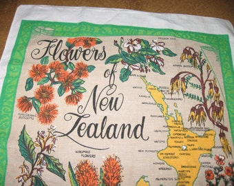 Flowers of New Zealand Souvenir Tea Towel