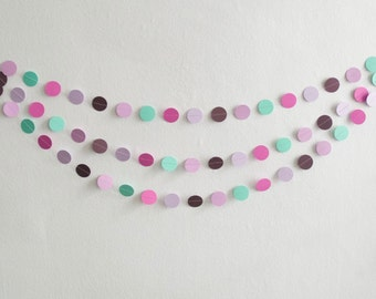 Purple Circle Garland, Paper Circle Garland, Purple Circles, Party Garland, Photo Prop