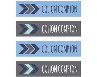 FAST SHIPPING! Clothing Name Tags, Clothing Name Labels, Iron-On, Fabric Name Labels, Fabric Name Tags, School Daycare Camp, Boy Blue Tribal