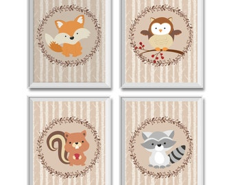 Woodland Nursery Decor Boy, Woodland Animals Nursery Decor Boy, Woodland Animals, Fox, Owl, Squirrel, Raccoon, Woodland Animals Art Prints