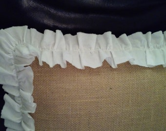 """Flat Muslin Ruffled Burlap Euro Sham Pillow Cover 26"""" X 26"""" Lined For Even Coverage"""