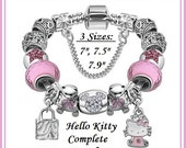 Adorable ~ Pink HeLLO KITTY and MiCKEY ~ Complete European Style Snake Chain Bracelet 3 Sizes w 13 Charms & Lampwork Beads plus Safety Chain