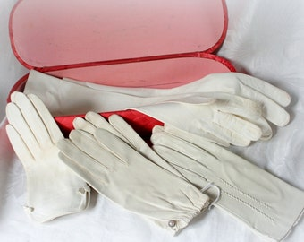 Leather gloves Italy, glove box, vintage white leather gloves